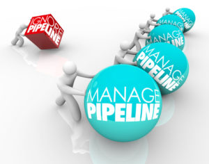 Manage Pipeline words on balls pushed by winning business people and one person struggling by ignoring his sales pipeline and losing customers
